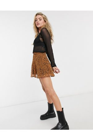 Bershka – Mini-Skater-Rock mit Tierfellmuster in