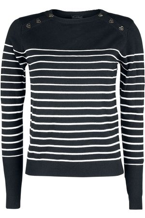 Voodoo Vixen Black Sea Striped Crew Neck Sweater Strickpullover /weiß