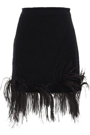 Patou Cotton Blend Tweed Mini Skirt W/feathers