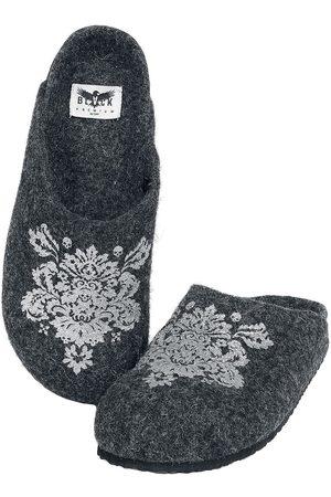 Black Premium by EMP Damen Hausschuhe - Graue Hausschuhe mit Ornament-Print Hausschuh dunkelgrau