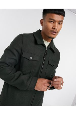 ASOS – Harrington-Hemdjacke aus Wollmischung in Khaki