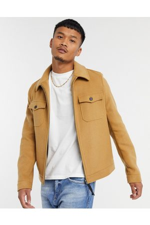 ASOS – Harrington-Hemdjacke aus Wollmischung in Kamel