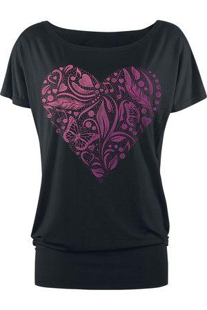 Full Volume Schwarzes T-Shirt mit Print und Rundhalsausschnitt T-Shirt