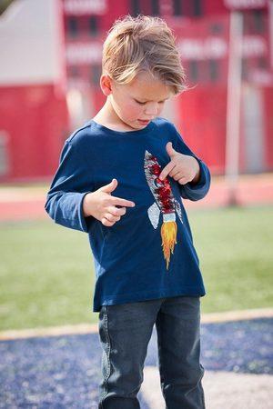 Kidsworld Jungen Longsleeves - Langarmshirt »Rakete aus Wendepailletten«