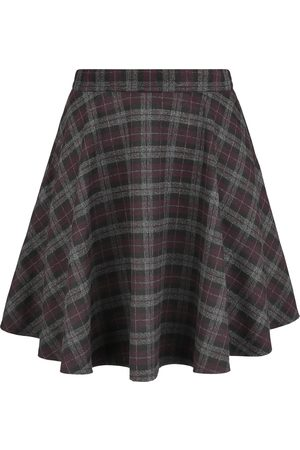Banned Retro Damen Bedruckte Röcke - Rock Check Flared Skirt Kurzer Rock /lila