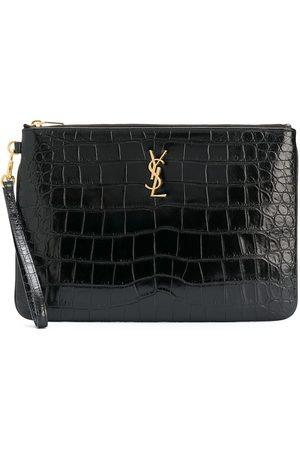 Saint Laurent Damen Clutches - Crocodile-embossed tablet-holder pouch bag