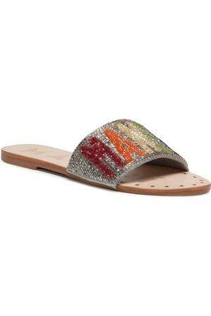 MANEBI Leather Sandals S 3.9 Y0 Silver Rainbow