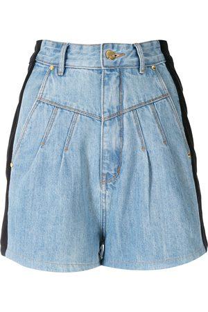 AMAPÔ Damen Cropped - Zweifarbige Jeans-Shorts