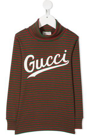 Gucci Gestreiftes Oberteil mit Logo-Print