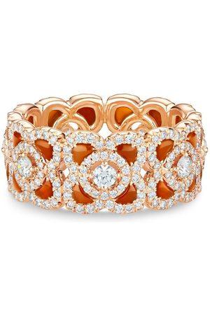 De Beers 18kt Rotgoldring mit Karneol und Diamanten