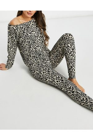 ASOS – Mix & Match – Bunter Pyjama mit Leggings mit Leopardenmuster