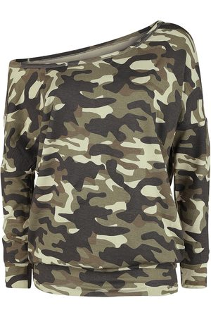 Black Premium by EMP Damen Longsleeves - Dunkles camouflage Longsleeve mit U-Boot-Ausschnitt Langarmshirt camouflage