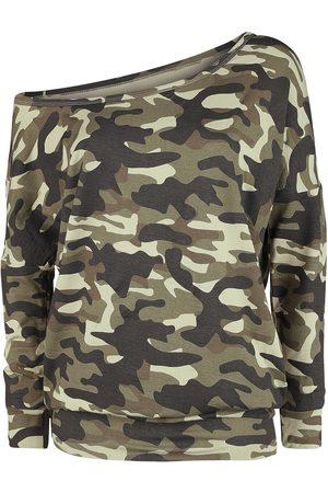 Black Premium by EMP Damen Longsleeves - Camouflage Longsleeve mit U-Boot-Ausschnitt Langarmshirt camouflage