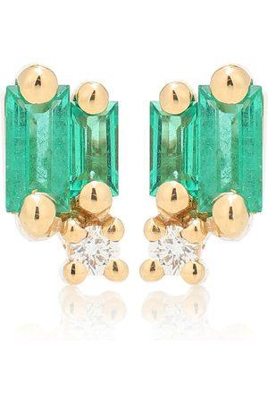 Suzanne Kalan Ohrringe Fireworks aus 18kt Gelbgold mit Smaragden und Diamanten