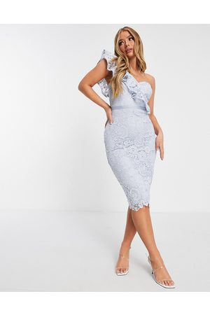 Lipsy London Bleistiftkleid aus Spitze mit One-Shoulder-Design in Kornblumenblau