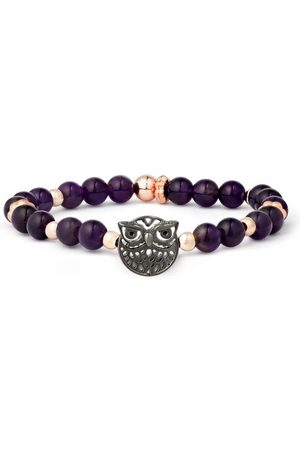 Armband Eule Messing Amethyst, 18 cm