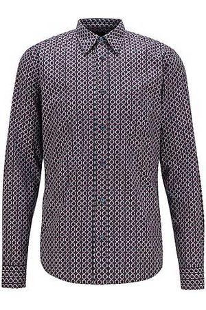 HUGO BOSS Slim-Fit Hemd aus Popeline mit Print der Saison