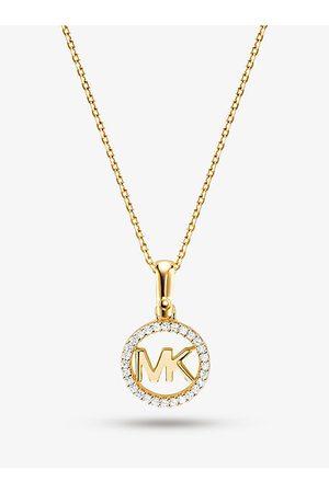 Michael Kors MK Halskette Mit Edelmetallbeschichtung Und Logo-Anhänger Mit Pavé-Fassung