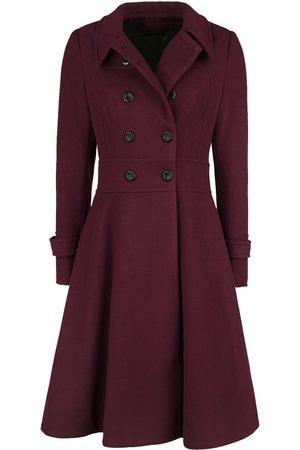 Voodoo Vixen Rose Double Breasted Black Pleat Coat Mantel
