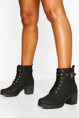 Boohoo Womens Wide Fit Buckle Lace Up Chunky Hiker Boots - - 36