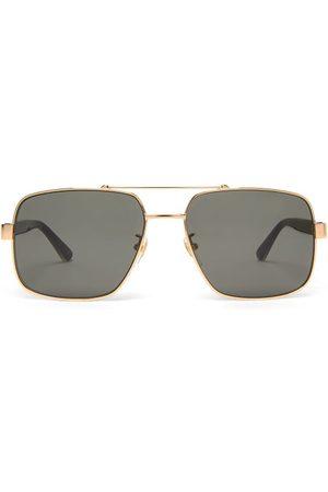 Gucci Web-striped Aviator Metal Sunglasses