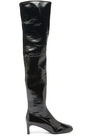 Prada Square-toe Patent-leather Over-the-knee Boots