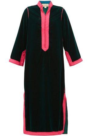 Muzungu Sisters Alia Woven-trim Velvet Tunic Dress
