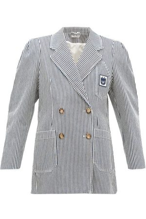 Miu Miu Double-breasted Striped Cotton Jacket