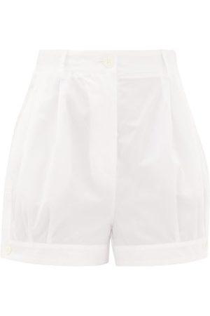 Prada High-rise Buttoned-cuff Cotton Shorts