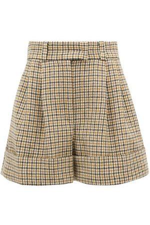 Miu Miu Pleated Houndstooth Wool Shorts