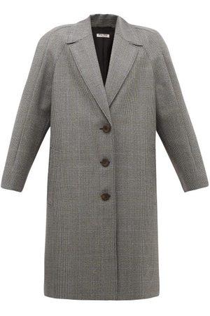 Miu Miu Houndstooth Virgin Wool Single-breasted Coat