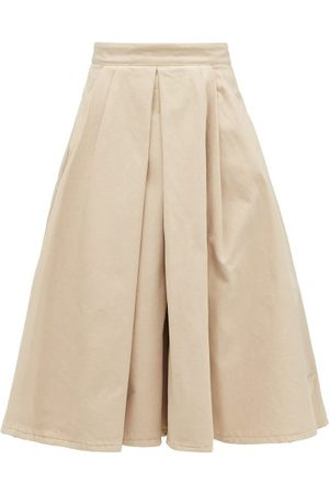 Prada Box-pleated Denim Midi Skirt