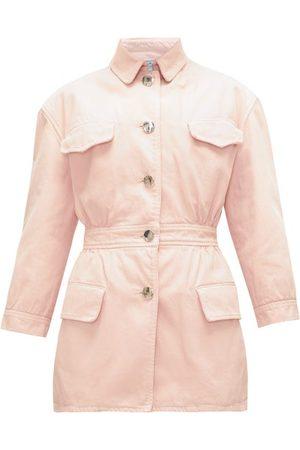Prada Gathered-waist Denim Jacket