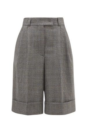 Miu Miu Pleated Wide-leg Houndstooth Shorts