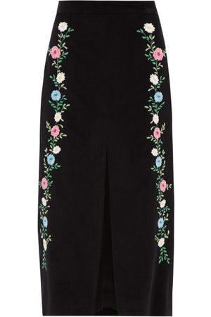 Miu Miu Front Slit Floral-embroidered Corduroy Skirt