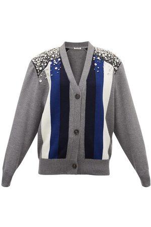 Miu Miu Crystal-embellished Striped Wool Cardigan