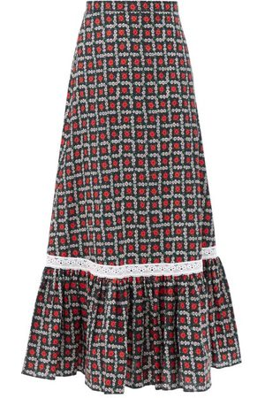 Miu Miu Floral-print Tiered Cotton Midi Skirt