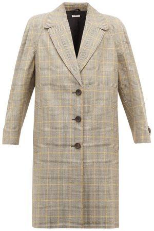 Miu Miu Prince Of Wales-check Virgin Wool Coat