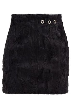 Ludovic De Saint Sernin Eyelet Shearling Mini Skirt