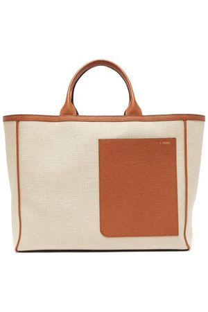 Valextra Shopping Large Canvas And Leather Tote Bag