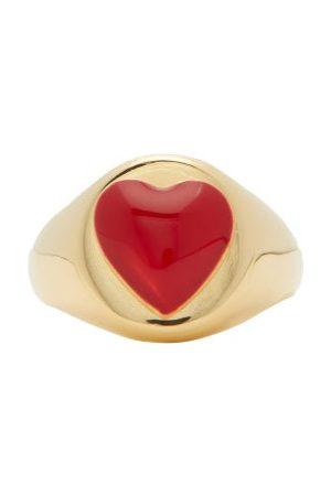WILHELMINA GARCIA Heart Enamel & 18kt Signet Ring