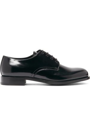 Prada Round-toe Spazzolato-leather Derby Shoes