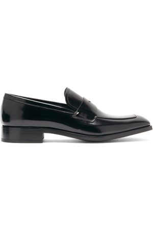 Prada Spazzolato-leather Penny Loafers