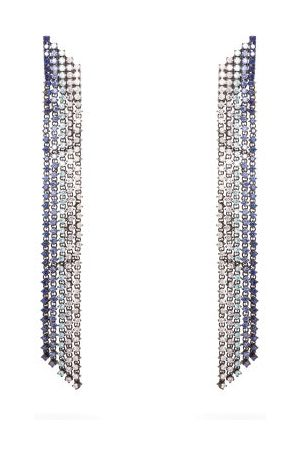 Lynn Ban Waterfall Sapphire & Rhodium-plated Earrings