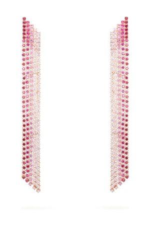 Lynn Ban Waterfall Sapphire & Rose -plated Earrings