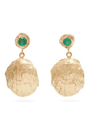 Nadia Shelbaya Shell Emerald & Drop Earrings