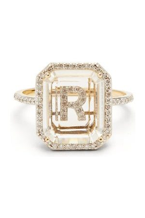 Mateo Initials Diamond, Quartz & 14kt Ring R-z