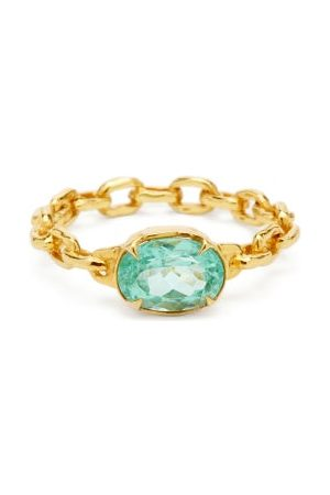PATCHARAVIPA Paraiba Tourmaline & 18kt Chain Ring