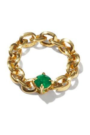 Lizzie Mandler Knife Edge Emerald & 18kt Chain Ring