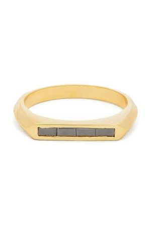 Lizzie Mandler Knife Edge Black-diamond & 18kt Ring